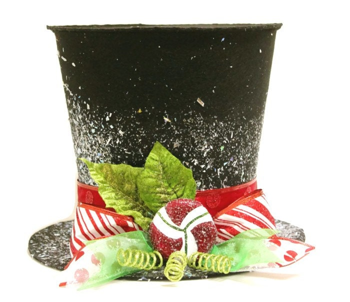 Christmas Tree Hats: Black Candy Cane Top Hat Christmas Tree Topper Christmas