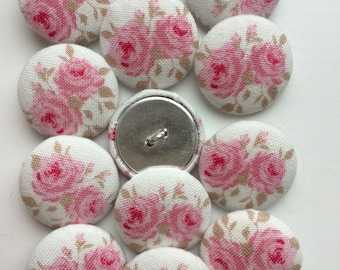 Tilda Cottagerose White / Wintergarden Fabric covered handmade buttons - 12 pieces of 22mm buttons