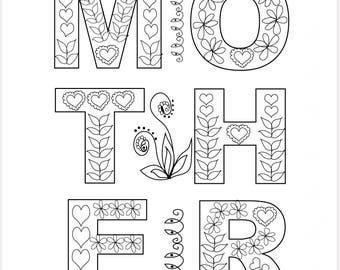 Volwassen Kleuren Bloemen Moeders Dag 5 X 7 Diy Kaart Kracht Etsy