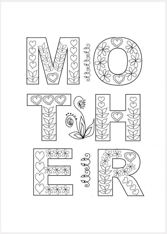 Día de las madres para colorear adultos 8 x 10 DIY para | Etsy
