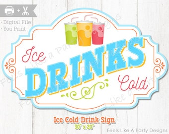 Carnival Food Sign Ice Cold Drinks  Decal Graphic