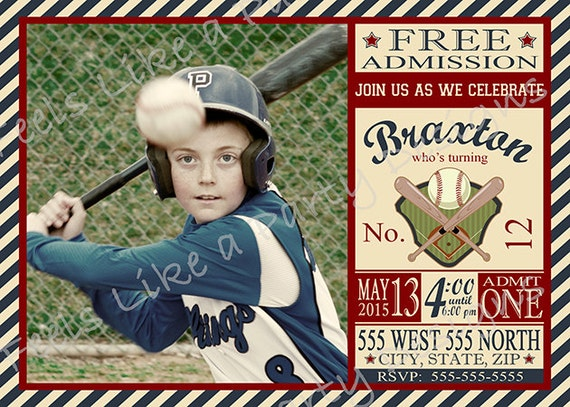 Custom Baseball Birthday Invitation With Photo
