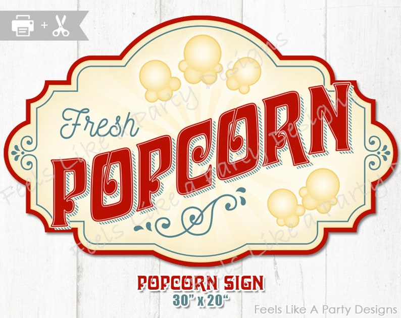 Nerdy image for popcorn sign printable