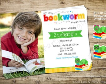 Bookworm Party Invite with Photo
