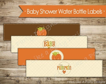 Pumpkin Baby Shower Water Bottle Wrappers - Instant Download