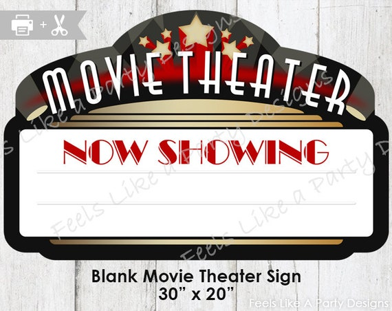 Movie Theater Sign DIY Instant Download Party
