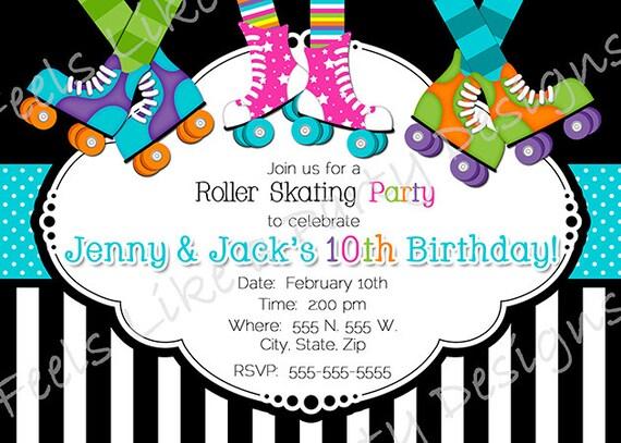 Custom Boy And Girl Roller Skating Party Invite Etsy