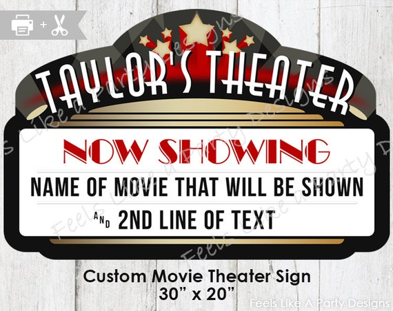 Custom Movie Theater Sign DIY Printable Party
