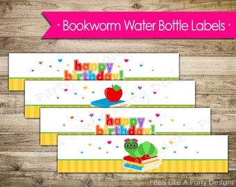 Girl Bookworm Water Bottle Wrappers - Instant Download