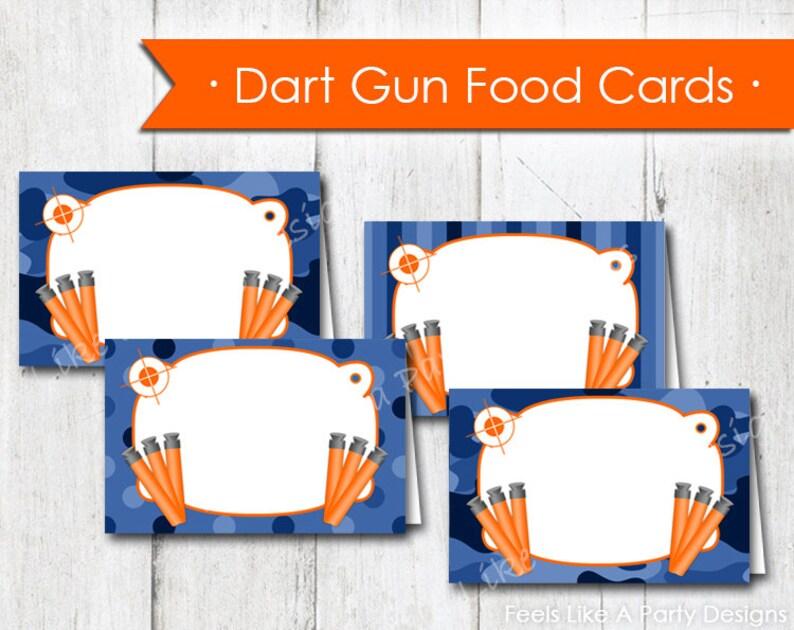 Blue Camo Dart Gun Food Cards Instant Download