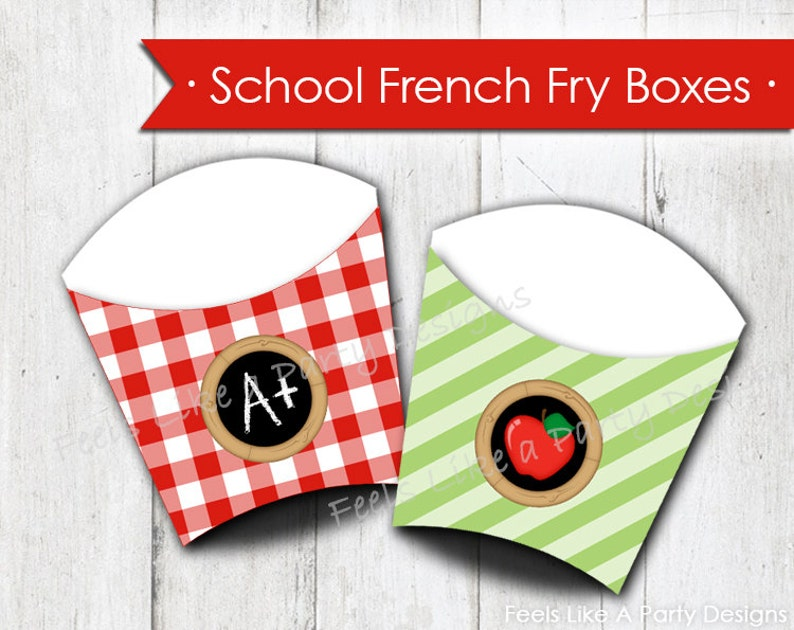 Back to School French Fry Box Instant Download
