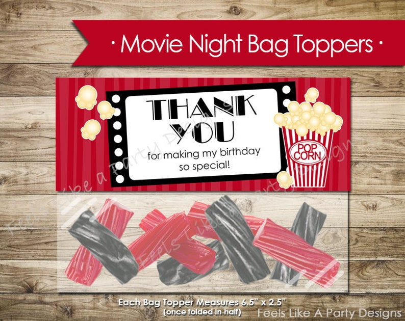 Movie Night Thank You Bag Topper- Instant Download