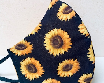 NEW!! Sunflower face mask covering   Spring Floral contoured face mask lightweight cotton washable adjustable strap Made in USA