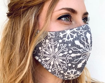 Snowflake face mask    Winter face covering Reversible adjustable 2 layer washable fitted mask