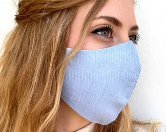 Sky Blue contoured face mask face covering men women cotton washable adjustable strap Made in USA ** Fast Ship