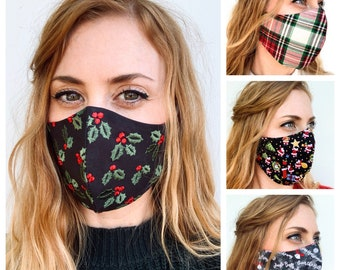 Embroidered Holly Berry face mask    Christmas Holiday face covering Reversible adjustable 2 layer washable fitted mask **Fast ship