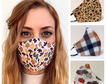 Autumn leaves Fall Thanksgiving face mask contoured face mask maroon lightweight cotton washable adjustable strap Made in USA ** Fast Ship
