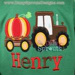 Tractor Pulling Pumpkin Applique -  Instant Download