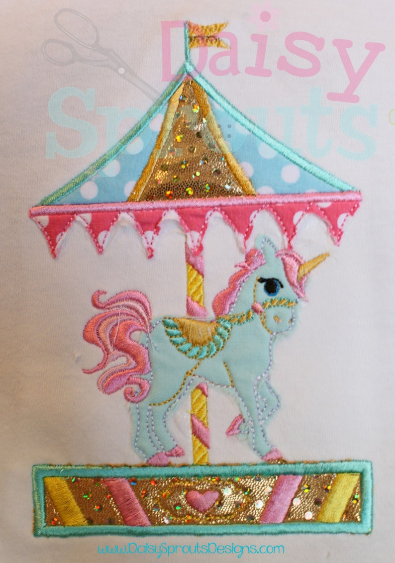 Unicorn Carousel Machine Applique  Instant Download image 0