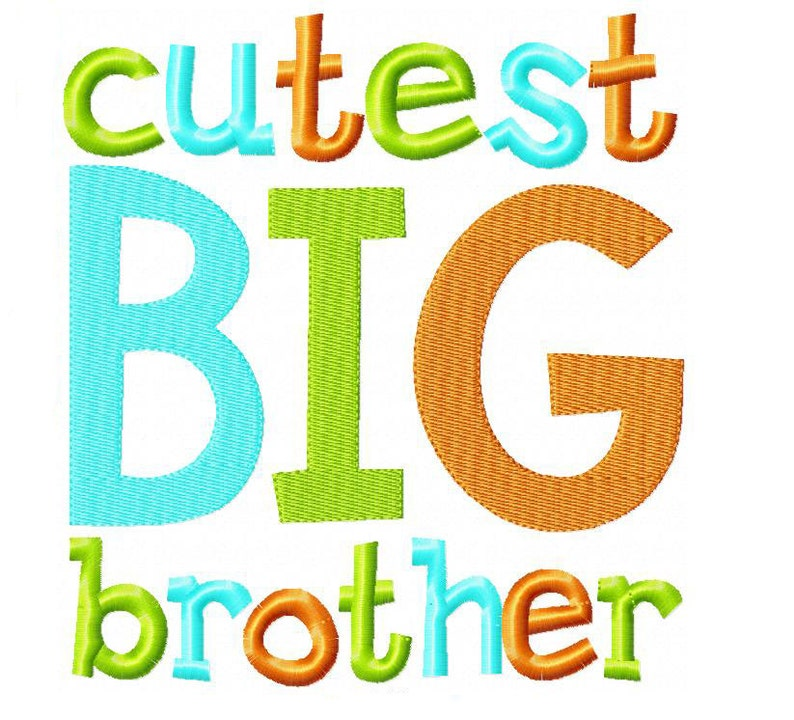 Cutest Big Brother Embroidery Design INSTANT download image 0