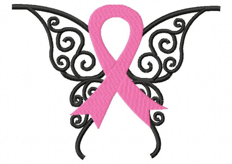Awareness Ribbon Butterfly Embroidery Design INSTANT DOWNLOAD image 0