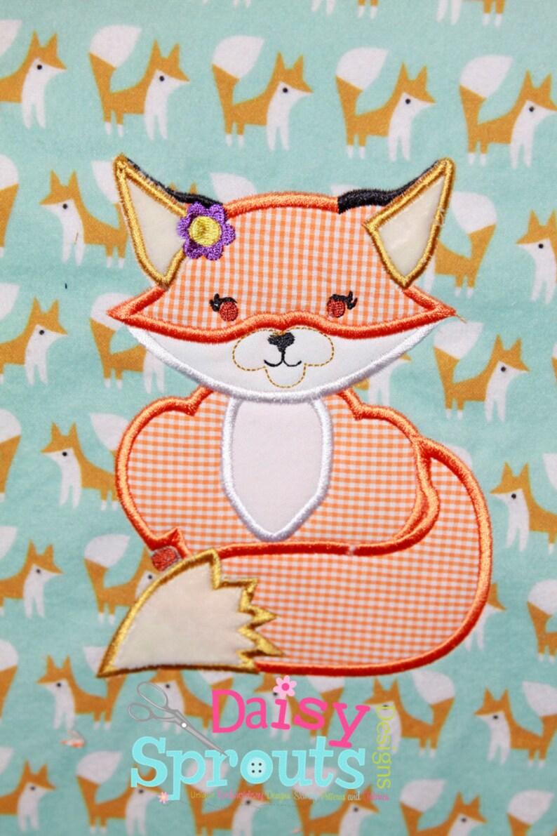 Cute Girl Fox Applique Design INSTANT DOWNLOAD image 0
