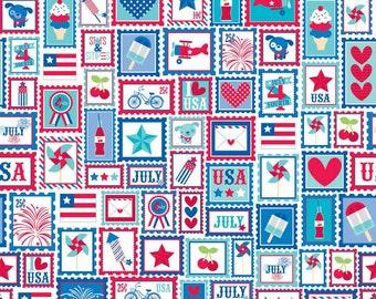 "CLEARANCE Riley Blake Designs ""Star Spangled"" Stripes Main Red by Doodlebug Designs - 1/2 Yard"