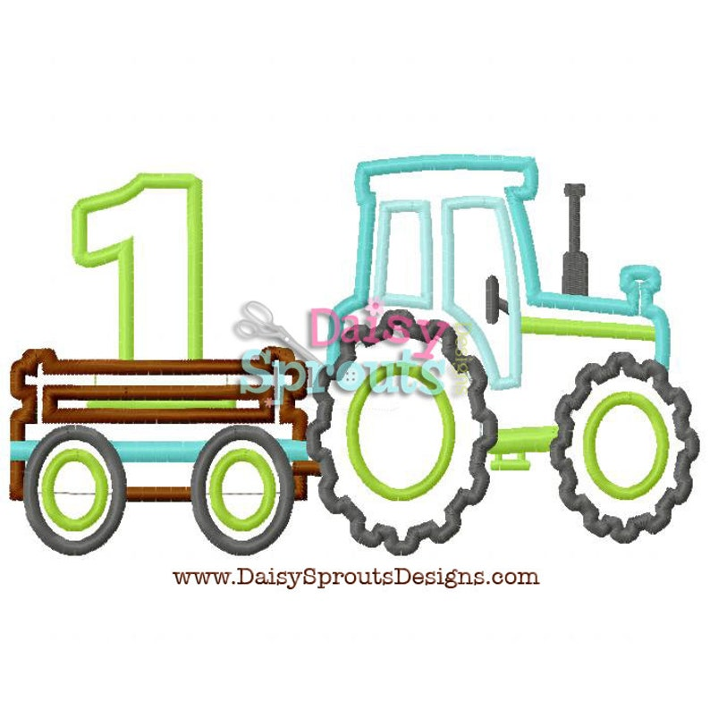 Tractor Pulling Number 1  Machine Applique  Instant Download image 0