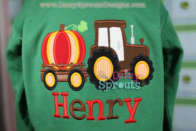 Tractor Pulling Pumpkin Applique   Instant Download image 0