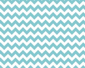 CLEARANCE - Knit Small Chevron Aqua Chevron by Riley Blake - 1/2 Yard