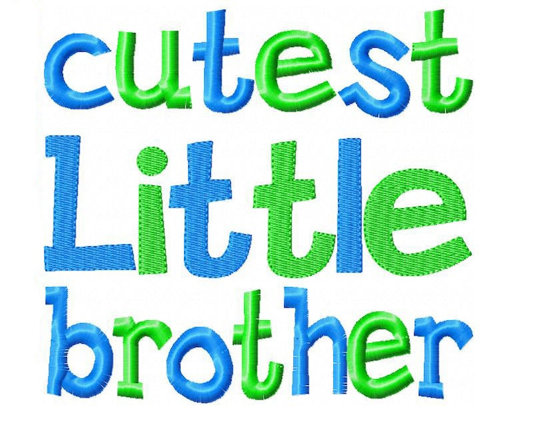 Cutest Little Brother Embroidery Design INSTANT download image 0