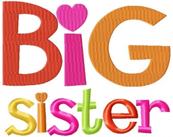 Big Sister Embroidery Design INSTANT download