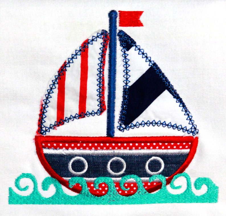 Sailboat Applique Design INSTANT DOWNLOAD image 0