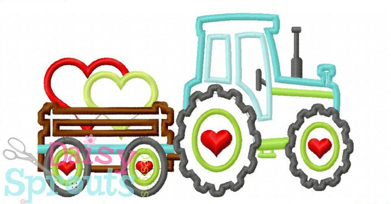 Tractor Pulling Hearts Machine Applique image 0