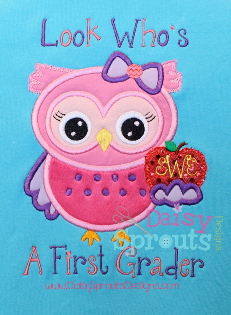 Look Who's a First Grader Machine Applique  Instant image 0