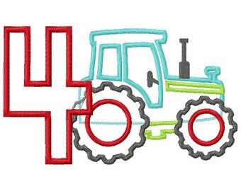 Tractor Pulling Number 4 Applique Design INSTANT DOWNLOAD
