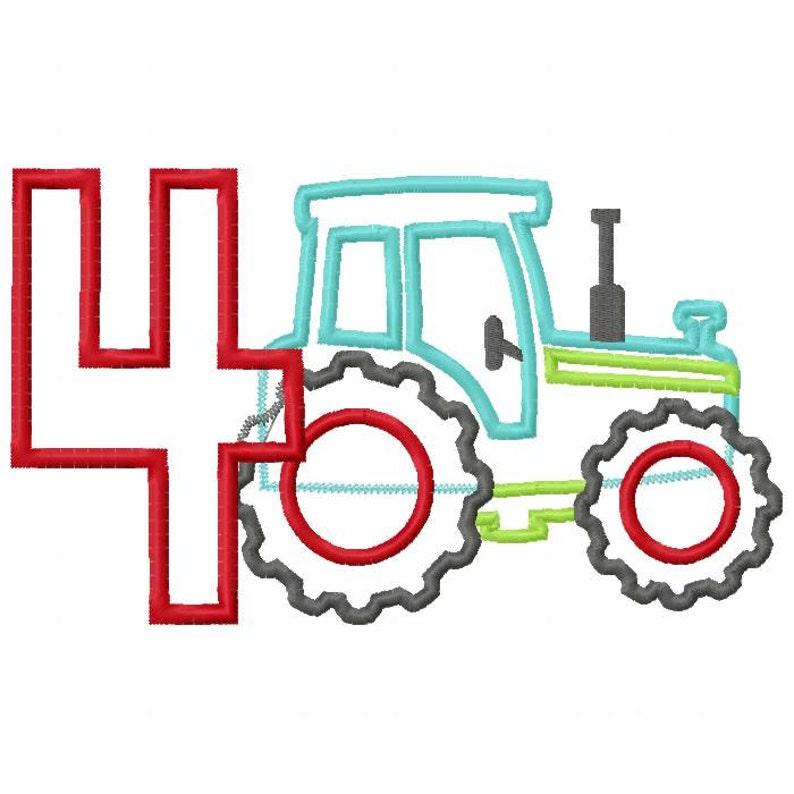 Tractor Pulling Number 4 Applique Design INSTANT DOWNLOAD image 0