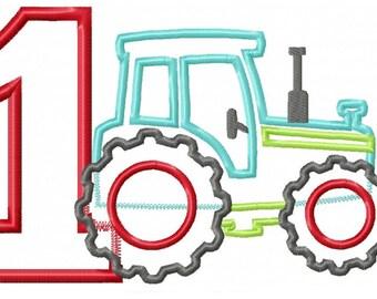 Tractor Pulling Number 1 Applique Design INSTANT DOWNLOAD
