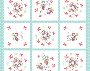 CLEARANCE - 1/2 Yard - Riley Blake Designs - Butterfly Dance - Butterfly Panel Blue - by Cinderberry Stitches by Natalie Lymer