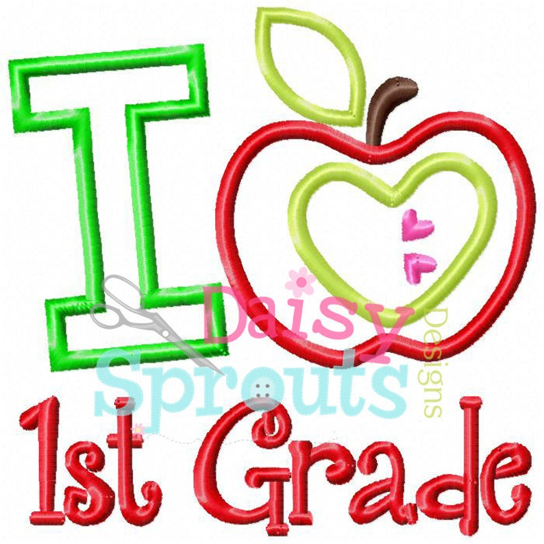 I Love First Grade Applique Design INSTANT DOWNLOAD image 0