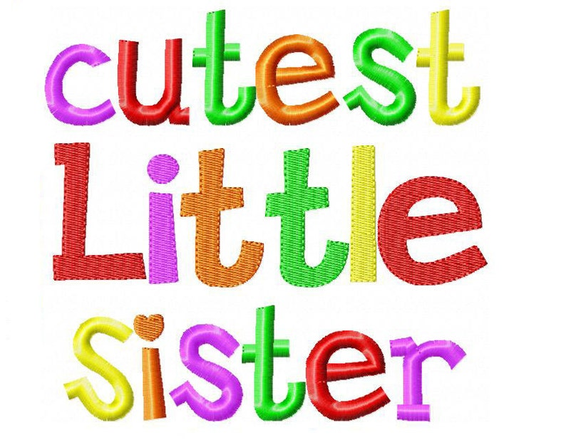 Cutest Little Sister Embroidery Design INSTANT download image 0