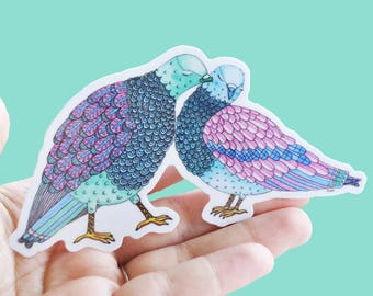 Vinyl Love Birds Sticker -Pigeon Bumper Decal, Illustrated Waterproof Art