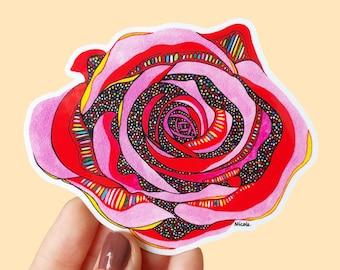 Vinyl Rose Sticker - Waterproof Sticker, Flower Decal, Laptop Sticker, Planner Sticker, Bumper Sticker