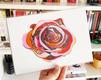 Original Disco Rose Watercolour Illustration
