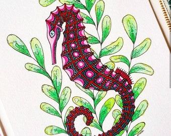 Original Seahorse Watercolour Illustration