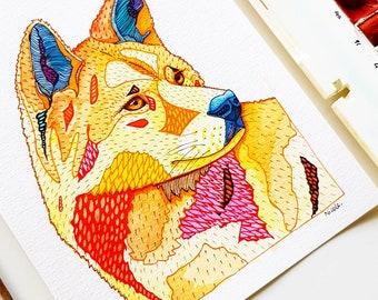 Original Dingo Watercolour Illustration