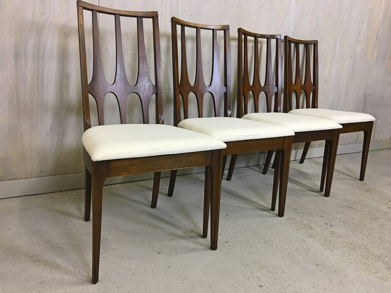 7c520ca7251ba Set of Four Broyhill Brasilia Walnut Dining Chairs