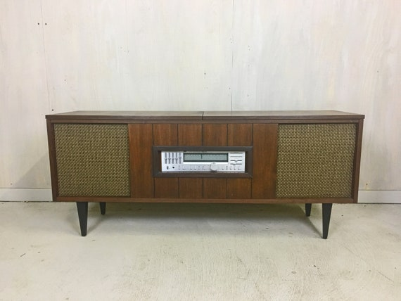 Mid Century Refurbished Stereo Console Cabinet With Turntable Etsy