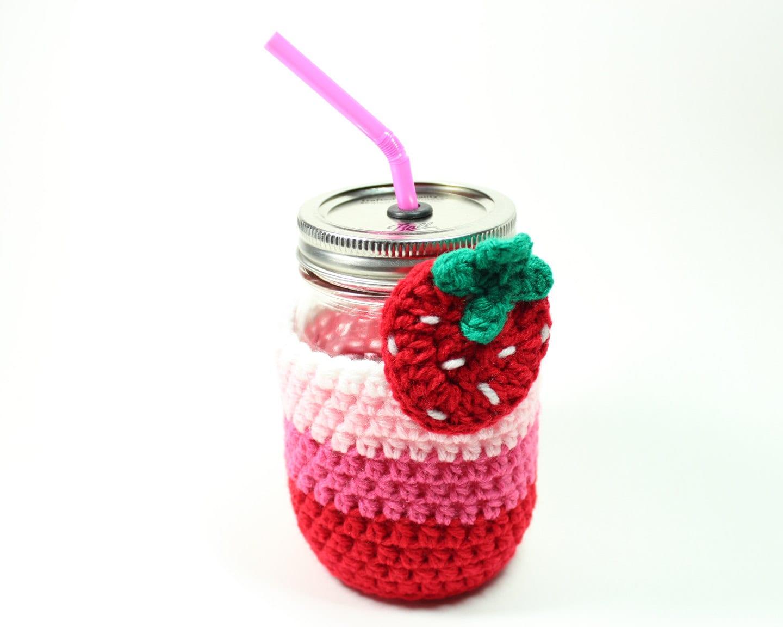 Vaso fresa tarro de masón beber taza Set acogedor de   Etsy