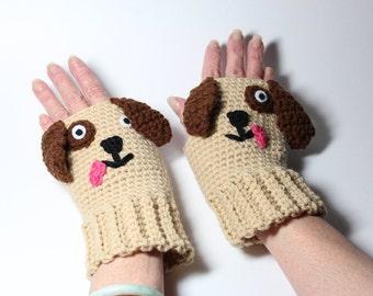 Puppy Fingerless Gloves, Crochet Animal Mittens, Fingerless Mitts, Doggie Hand Warmers , Tan Winter Wrist Warmers